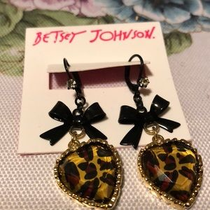 Betsy Johnson heart with bow earrings